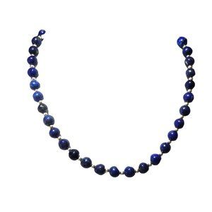 Lapis lazuli  and silver tone beads necklace  1182